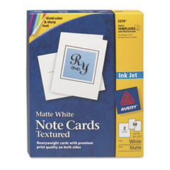 Avery Note Cards w/Matching Envelopes, Textured Inkjet, 4-1/4 x 5-1/2, 2/Sheet, 50/BX