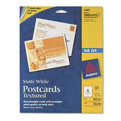 Avery Textured Postcards, Inkjet, Heavyweight, 4-1/4 x 5-1/2, Matte White, 120/Box