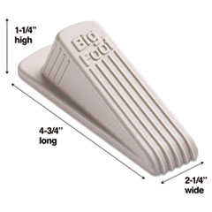 Master Caster Big Foot Doorstop, No-Slip Rubber Wedge, 2-1/4w x 4-3/4d x 1-1/4h, Beige
