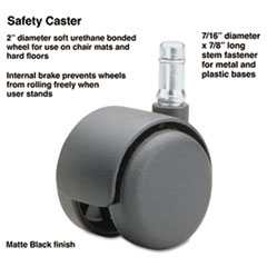 Safety Casters, 100 lbs./Caster, Nylon, Matte Black, 5/Set