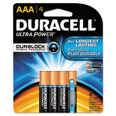 Duracell Ultra Power Alkaline Batteries with Duralock Power Preserve Technology, AAA,4/Pk