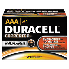 Duracell CopperTop Alkaline Batteries with Duralock Power Preserve Technology - DUR MN2400B24000