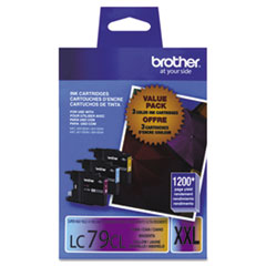 Brother LC793PKS (LC-79CMY) Innobella Super High-Yld Ink, C, M, Y, 1200 Page-Yield, 3/Pk
