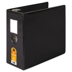 Heavy-Duty No-Gap D-Ring Binder With Label Holder, 5&quot; Capacity, Black