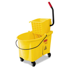 Rubbermaid Commercial WaveBrake 44 Quart Bucket/Sideward Pressure Wringer Combination, Yellow