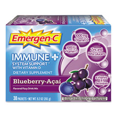 Emergen-C Immune+ Formula, 0.3 oz, Blueberry Acai, 30/Pack