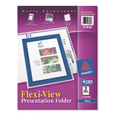 Avery Flexi-View Two-Pocket Polypropylene Folders, Navy/Translucent, 2/Pack