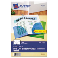 Avery Small Binder Pockets, Fold-Out, 5-1/2 x 8-1/2, Assorted, 3/Pack