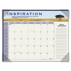 AT-A-GLANCE Recycled Motivational Panoramic Monthly Desk Pad, 22 x 17, 2014