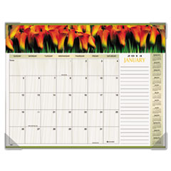 AT-A-GLANCE Recycled Floral Panoramic Desk Pad, Jan-Dec, Desk Pad, 22 x 17, 2014