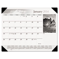 Visual Organizer Recycled Black-and-White Desk Pad, Black and White, 22 x 17, 2013