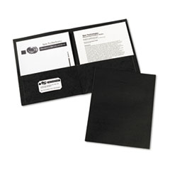 Avery Two-Pocket Portfolio, Embossed Paper, 30-Sheet Capacity, Black, 25/Box