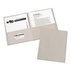 Avery Two-Pocket Embossed Paper Portfolio, 30-Sheet Capacity, Gray, 25/Box