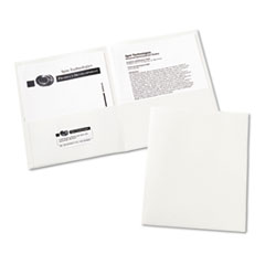 Avery Two-Pocket Portfolio, Embossed Paper, 20-Sheet Capacity, White, 25/Box
