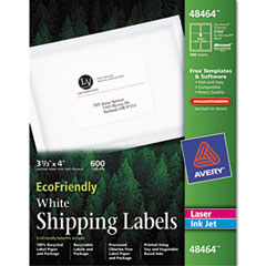Avery EcoFriendly Labels, 3-1/3 x 4, White, 600/Pack