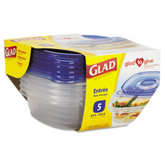 GladWare Entr�e Container with Lid, 25 oz., Plastic, Clear, 5/Pack