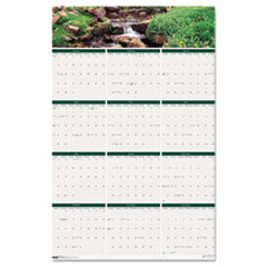 House of Doolittle Waterfalls of the World Reverse/Erase Yearly Wall Calendar, 24 x 37, 2015