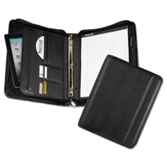 Samsill Professional Zippered Pad Holder/Ring Binder, Pockets, Writing Pad, Vinyl Black