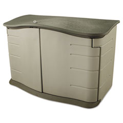 Rubbermaid® STORAGE SHED LG HRZN SND HORIZONTAL OUTDOOR STORAGE SHED, 55 X 28 X 36, 20 CU FT, OLIVE GREEN-SANDSTONE