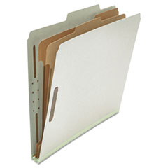 Universal Pressboard Classification Folder, Letter, Six-Section, Gray, 10/Box
