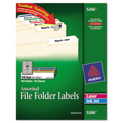 Avery Permanent File Folder Labels, TrueBlock, Laser/Inkjet, Assorted, 750/Pack