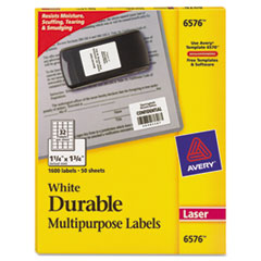 Avery Permanent Durable ID Laser Labels, 1-1/4 x 1-3/4, White, 1600/Pack