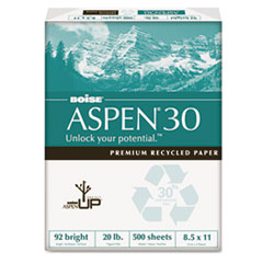 Boise ASPEN 30% Recycled Office Paper,92 Bright, 20lb, 8-1/2 x 11, White, 5000/Carton