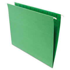 Universal One Hanging File Folders, 1/5 Tab, 11 Point Stock, Letter, Green, 25/Box