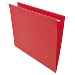 Universal One Hanging File Folders, 1/5 Tab, 11 Point Stock, Letter, Red, 25/Box