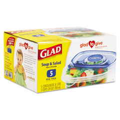 GladWare Soup and Salad Food Storage Containers, 24 oz., 5/Pk, 6 Pks/Ctn