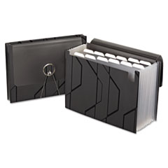 Pendaflex Sliding Cover Expanding File, 13 Pockets, 1/6 Tab, Letter, Black