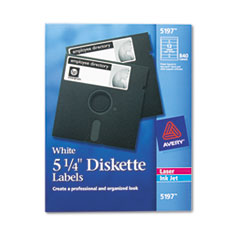 Avery Laser/Inkjet 5.25in Diskette Labels, White, 840/Box