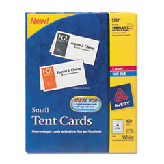 Avery Tent Cards, White, 2 x 3 1/2, 4 Cards/Sheet, 160 Cards/Box