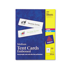 Avery Tent Cards, Medium Embossed, White, 2 1/2 x 8 1/2, 2 Cards/Sheet, 100/Box