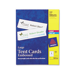 Avery Tent Cards, Large Embossed, White, 3 1/2 x 11, 1 Card/Sheet, 50/Box