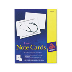 Avery Note Cards w/Matching Envelopes, Laser, 4-1/4 x 5-1/2, White, 2/Sheet, 60/Pack