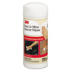 3M Desk & Office Cleaner Wipes, Cloth, 7 x 8, 25/Canister