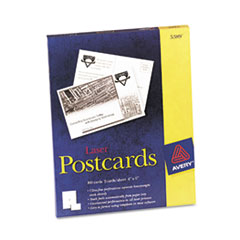 Avery Postcards for Laser Printers, 4 x 6, White, 2/Sheet, 100/Box
