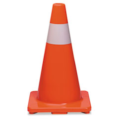 Tatco Traffic Cone, 18h x 10w x 10d, Orange/Silver