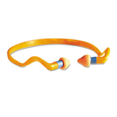 Howard Leight by Honeywell QB2HYG Banded Multi-Use Earplugs, 25NRR, Orange Band/Orange Plug, 10/Box