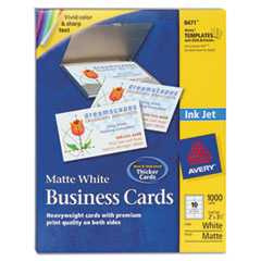 Avery Two-Side Printable Business Cards, Inkjet, 2 x 3-1/2, White, Matte, 1000/Box