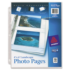 Avery Photo Pages for Four 4 x 6 Horizontal Photos, 3-Hole Punched, 10/Pack