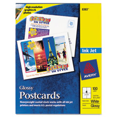 Avery Postcards, Inkjet, 4-1/4 x 5-1/2, White Glossy, 4 Cards/Sheet, 100/Pack