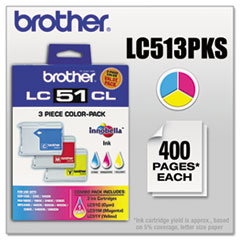 Brother LC513PKS Innobella Ink, 400 Pg-Yld, Cyan, Magenta, Yellow, 3/Pk