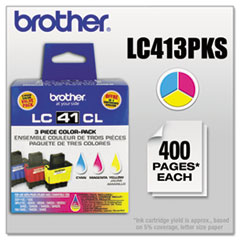 Brother LC413PKS Ink, 400 Page-Yield, 3/Pack, Cyan; Magenta; Yellow