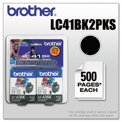 Brother LC41BK2PKS Ink, 500 Page-Yield, 2/Pack, Black
