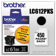 Brother LC612PKS (LC-61) Innobella Ink, 450 Page-Yield, 2/Pack, Black