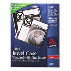 Laser CD/DVD Jewel Case Inserts, Matte White, 20/Pack