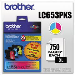 Brother LC653PKS Innobella High-Yield Ink, Cyan/Magenta/Yellow, 3/PK