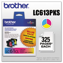 Brother LC613PKS (LC-61) Innobella Ink, 325 Page-Yield, 3/Pack, Cyan; Magenta; Yellow